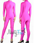 Retro Hot Pink 80's Mock Neck Long Sleeve Unitard,Bodysuit Aerobic Costume S-3XL