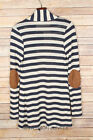 NAVY Beig STRIPED CARDIGAN Suede Elbow Patch Long Sleeve New 1X 2X 3X PLUS SIZE