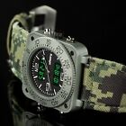 INFANTRY Mens Digital Quartz Wrist Watch Night Vision Dial Sport Genuine Leather