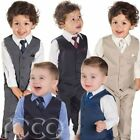 Boys Suits, 4 Piece Waistcoat Suit, Wedding Page Boy Baby Formal Party 5 Colours