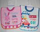 Cute Baby Boy Girls  2 Pk Pullover Bibs  3  Mths +  New