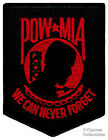 POW-MIA EMBROIDERED PATCH iron-on VIETNAM WAR BLACK RED Prisoner of War Emblem