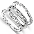 Round Diamond 1 1/2 Carat (ctw) Stackable Eternity Bands in 14k White Gold (3 Pi