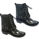 ADIRANA DA09 Women's Lace Up Quilted Combat Calf Rain Duck Boots