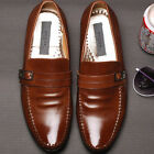 Premium Embio Brown Leather Mens Dress Loafers Shoes