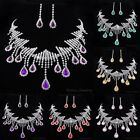 Fashion Teardrop Tassels Wedding Women Rhinestone Necklace Earrings Jewelry Set
