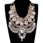 Fashion Gold Chain Resin Crystal Chunky Choker Statement Pendant Bib Necklace