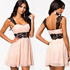 Sexy Summer Women Lady Sleeveless Lace Party Cocktail Evening Skater Mini Dress