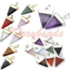 Silver/Gold Plated Gemstone Triangle Healing Point Reiki Chakra Pendant Necklace