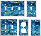 OCEAN WAVES ABSTRACT LIGHT SWITCH COVER PLATE  U PICK  SIZE AND STYLE