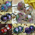 10pc Murano Lampwork Glass Foil Flower Faceted Spacer Bead For Jewelry DIY Gift