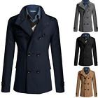 Men's Coat Double Breasted Peacoat Long Jacket Winter Dress Top