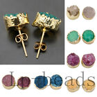 12mm Natural Druzy Quartz Stud Earrings Mutl Color 1 Pair Beads
