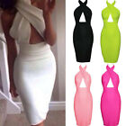Womens Ladies Halter Cross Backless Bandage Bodycom Cocktail Clubwear Mini Dress