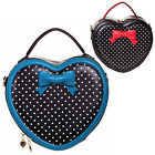 Womens New Vintage Retro 1950s Polka Dot Bow Heart Shaped Handbag Bag