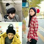 Women Men Winter Warm Unisex Couple Knit Ski Beanie Bobble Wool Cuff Hat Ski Cap