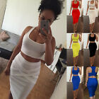 Women Sleeveless Bandage Bodycon Pencil Evening Cocktail Party Club Wool Dress