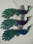 Gisela Graham Moulded Acrylic Glitter Long Tail Peacock Christmas Dec 20x7cms