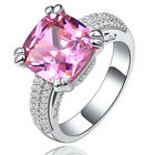 7.5ct Pink Sapphire  Birthstone Silver Filled Wedding Bridal Ring Size 6-10