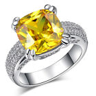 7.5ct Yellow Topaz Birthstone Silver Filled Wedding Bridal Ring Size 6-10