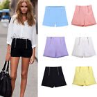 Vintage Elastic High Waist Zipper Summer Womens Mini Pants Casual Short Bottom