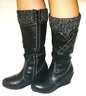 LADIES BLACK KNEE LENGTH FAUX SUEDE,LEATHER ZIP UP WINTER WEDGED BOOTS UK 3-8