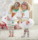 Baby Girls Christmas Cartoon Deer shirt Skirt Pants Legging Outfits Clothes Sets