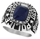 Dark Blue Stone Police Department Silver Stainless Steel Mens Cluster Ring