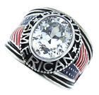 Clear Stone Proud American USA Flag Silver Stainless Steel Mens Ring