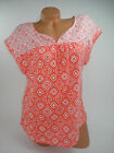 Basic Editions Womens Blouse Orange White Geometric Short Sleeve Top Shirt NEW