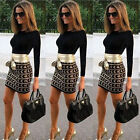 Sexy Women Long Sleeve Bodycon Party Evening Mini Skirt Work Wrap Pencil Dress