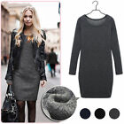 Taille 34 36 38 40 Laine épaissir Mini Robe Pull Pullover Hauts Hiver Sweater