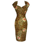 Collectif Regina Tiki Hibiscus Leopard Vintage Retro 1950s Fitted Pencil Dress