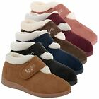 Womens Ladies Dunlop Fur Lined Velcro Strap Slipper Boots Wide Fit Shoes Size