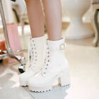 New Women's Leather Lace Up Shoes Chunky High Heels Platform Ankle Boots
