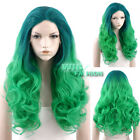 """24"""" / 28"""" Long Curly Blue Green Ombre Lace Front Synthetic Wig Heat Resistant"""