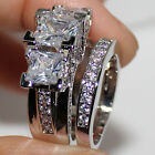 EXCLUSIVE Womens Three-stone White Topaz Guard Band Ring Set Sz 6-10 Not Fade