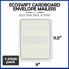 "1-2500 9 x 11.5 ""EcoSwift"" Self Seal Photo Ship Flats Cardboard Envelope Mailers"