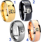 Tungsten Star Wars R2D2 8MM Dome Gold IP Black Silver Rose Men's Ring