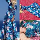Vintage Women Ladies Floral Long Sleeve Maxi Party Cocktail Weeding Prom Dress