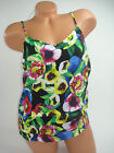 Attention Womens Tank Top Blouse Shirt Cami Green Floral Ruffled NEW