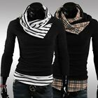 Men's Winter Patchwork Turtle Neck Casual Pullover Sweater Coat Knitted Jumper
