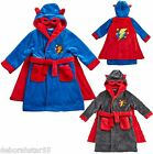 Boys Kids Soft Superhero Novelty Dressing Gown Bath Robe + Cape + Hood ages 2-6