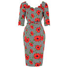 Voodoo Vixen Houndstooth Check Floral Poppy Pencil Dress 1950s Vintage Fashion
