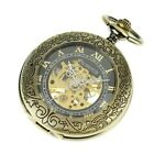 PACIFISTOR Mens Vintage Transparent Mechanical Skeleton Pocket Watch&Chain