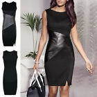 AU New Fashion Women Leather Bodycon Stretch Cocktail Party Evening Pencil Dress