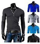 New Hot Men Casual T-shirts V-Neck Cool Fashion Long Sleeve Slim Fit Tops Dress
