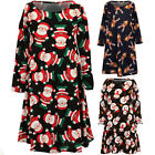 Girls Long Sleeve Christmas Reindeer Santa Snowman Children's Top Swing Dress
