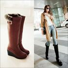 Women's Warm Riding Knee High Boots Wedge Heel Pltaofrm Pull On Buckles Shoes Sz