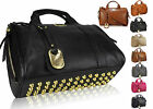 New Ladies Celebrity Leather Style Stud Satchel Barrel Bag Women Studded Handbag